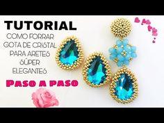 #1/ COMO ENCERRAR GOTA DE CRISTAL CON MOSTACILLAS PARA ARETES SUPER ELEGANTES, TUTORIAL DE BISUTERÍA - YouTube Beaded Bracelets Tutorial, Beaded Bracelet Patterns, Jewelry Making Tutorials, Beading Tutorials, Beaded Chocker, Bead Embroidery Tutorial, Beading Patterns Free, Bracelet Crafts, Bead Weaving