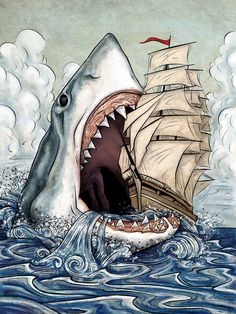 Shark Attack Shark Week is Coming on August 4 - By ~SackofWetRabbits-this is hilarious-wont get me in the ocean Megalodon, Art And Illustration, Animal Drawings, Art Drawings, Drawings Of Sharks, Shark Drawing, Shark Art, Big Shark, Shark Tattoos