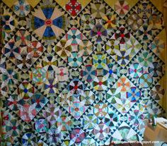 Steam Punk or Propeller quilt top with sawtooth sashing