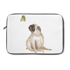Our curious pug and butterfly watercolor designs are adorable. Not only will it provide your laptop with protection, but it'll attract attention with its cute a Butterfly Watercolor, Watercolor Design, Pug Accessories, Laptop Sleeves, Pugs, Products, Notebook Covers, Pug, Pug Dogs