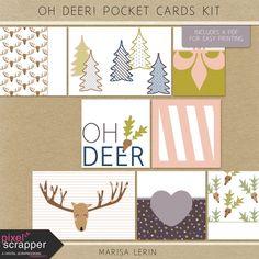 Oh Deer! Pocket Cards Kit | digital scrapbooking | winter, christmas, project life, pocket scrapping, printable, hybrid
