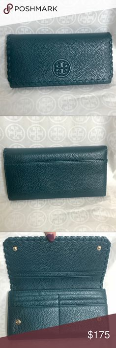 """Tory Burch Marion envelope continental wallet Awesome fall/winter color!! Deep teal """"oceanic"""" authentic, pebbled leather, details and dimensions in pics reg $195 Tory Burch Bags Wallets"""