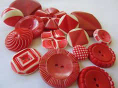 Vintage Buttons  Cottage chic mix of red and by pillowtalkswf, $7.75