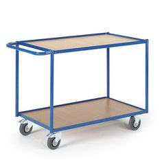 GTARDO.DE:  Tischwagen 2 Etagen, Tragkraft 300 kg, Ladefläche 990x590 mm, Maße 1190x600 mm, Rad-Ø 125 mm 186,00 €