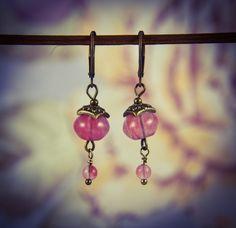 Cherry Quartz and Bronze Oriental Gemstone Earrings [E83] by BourneBling on Etsy
