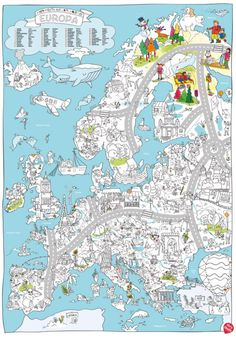 very-mappy-Europa Round Robin, Mindfulness For Kids, Drawing Exercises, Travel Themes, My Teacher, Drawing For Kids, Primary School, School Projects, Coloring Pages