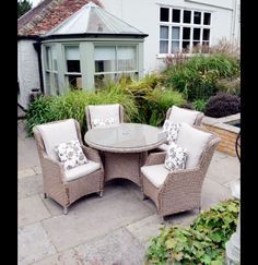 Image 1 for Saigon Heritage Weave Dining Set with Highback Armchairs