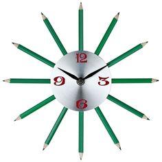 The Pencil Wall Clock actually uses green colored pencils as hands to help inspire creative ideas #homedecor #walldecor #metalwalldecor