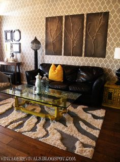 Top 10 Amazing DIY Rugs... I like the sticks on those paintings too!