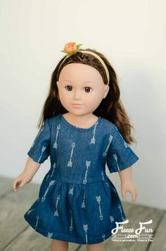 Chambray Party Dress for Doll Free Pattern ♥ Fleece Fun Skirt Pattern Free, Free Pattern, Pants Pattern, Doll Dress Patterns, Clothing Patterns, Our Generation Doll Clothes, American Girl Clothes, American Dolls, Ag Doll Clothes