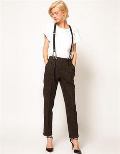 Женские брюки с подтяжками фото