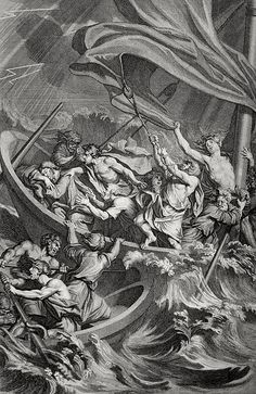 Phillip Medhurst presents Bowyer Bible print 3599 Christ sleeps during the storm Matthew 8:24-25 Picart on Flickr. A print from the Bowyer Bible, a grangerised copy of Macklin's Bible in Bolton Museum and Archives, England.