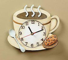Coffee Clock Wall Clock Resin Home Decor Accent NEW TVI1-5986