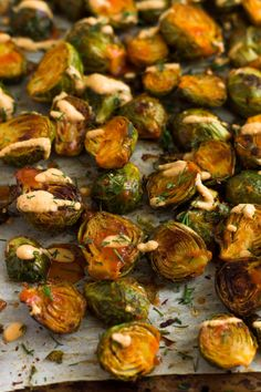Cheesy Buffalo Brussel Sprouts - Eat the Gains