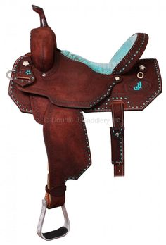 Pozzi Pro Barrel Racer with brown rough out, turquoise buckstitch & Pozzi flower conchos. Cowgirl And Horse, Western Horse Tack, My Horse, Western Saddles, Cowgirl Tuff, Barrel Racing Saddles, Barrel Saddle, Horse Saddles, Horse Gear