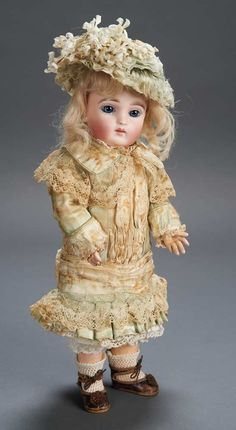 Rare French Bisque Bebe by Joanny in Fine Early Costume