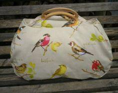 Large project bag. Garden bird fabric knitting bag.