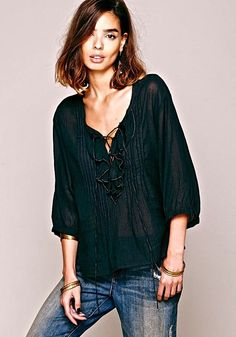 NEW Free People FP One oversize black blue Lace Up Ruffle Me Up Blouse XS/S #FPOne #ruffledswingtop #Casual