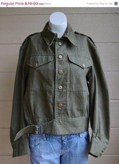 ON SALE Vintage Military Shirt Jacket British by founditinatlanta