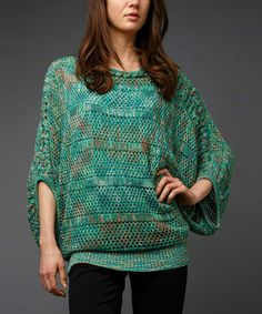 Take a look at this Emerald Marled Cape-Sleeve Sweater by Kaktus on #zulily today! $43 !!