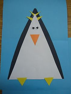 What a cute and easy way to make penguins...using triangles.