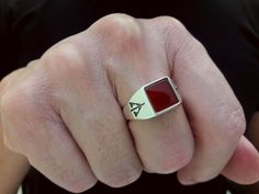 Harry Potter Deathly Hallows Square Chevalier Ring Diy Jewelry Rings, Custom Jewelry, Jewelry Making, Unique Jewelry, Silver Casting, Harry Potter Deathly Hallows, Harry Potter Jewelry, Ring Size Guide, Diy Schmuck