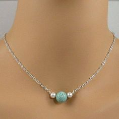 Chinese turquoise gemstone, white pearl sterling silver chain necklace - http://www.jewelrybytali.com $65
