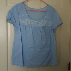 Old Navy short sleeve top Sky blue with embroidered details on the front Old Navy Tops Blouses