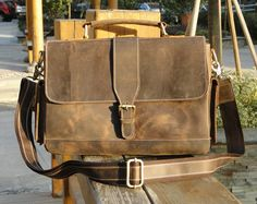 "Handmade Vintage Leather Briefcase / Leather Messenger Bag / Leather Satchel / 11"" MacBook Air or 12"" Laptop Bag D012"