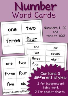 Free printable Number Word Cards: includes 1-20 and tens to 100! Teaching Numbers, Math Numbers, Writing Numbers, Number Words Chart, Number Words Worksheets, Free Worksheets, Free Printable Numbers, Free Printables, Rhyming Pictures