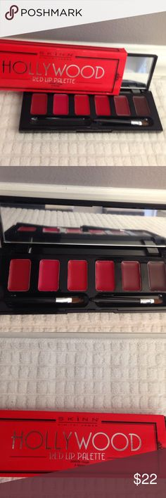 NEW LTD EDITION red lip palette Hollywood red lip palette with mirror and 2 brushes Skinn by Dimitri James Makeup Lipstick