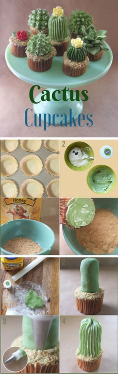 Get the Recipe ♥ Cactus Cupcakes #recipes @recipes_to_go #FairyCakes,Yummy!