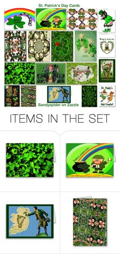 """""""St. Patrick's Day Cards"""" by sandyspider ❤ liked on Polyvore featuring art, modern and vintage"""
