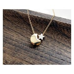 Celestial Moon And Star Necklace Crescent Moon Necklace I Love You To The Moon And Back Simple Gold Necklace found on Polyvore