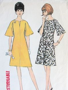 1960s A LINE DRESS PATTERN PRETTY SLIT NECKLINE, BELL SLEEVES McCALLS 8184