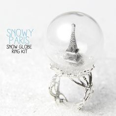 Snowy Paris / Snow Globe Ring DIY Kit Waterless / by Happette, $6.95