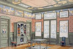 Design of a study, 1900, by Georges Remon (1889–1963) from Interieurs Modernes (Modern Interiors)