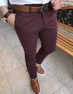 How to wear: white dress shirt, burgundy wool dress pants, brown leather tassel Mens Fashion Blazer, Mens Fashion Wear, 80s Fashion, Fashion Pants, Fashion Outfits, Fashion Sale, Paris Fashion, Runway Fashion, Girl Fashion