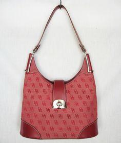 DOONEY and BOURKE Handbag Purse Bag Leather Canvas Burgundy