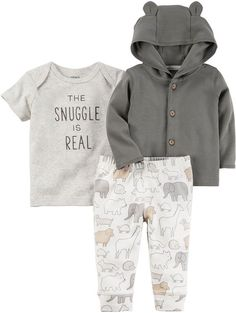 CARTERS Carter\'s 3-pc. Layette Set-Baby Unisex. Cute little boy outfit. The bear ears on the sweater are TOO CUTE. #BabyClothes #Affiliate