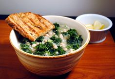kale and white bean soup with garlic rubbed bread
