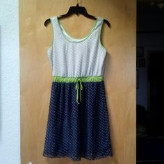 Maurices Navy White Green Polka Dot Dress Maurices size small dress with full lining. Polka dot pattern, white on top, navy on bottom, lime green trim and waist. Lightweight and modest length. Worn once and in perfect condition! Please ask any and all questions before purchasing. Thanks! Maurices Dresses