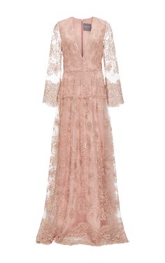 V Neck Embroidered Gown by MONIQUE LHUILLIER for Preorder on Moda Operandi