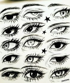 Difference in eye shape and pupil Eye Drawing Tutorials, Drawing Techniques, Art Tutorials, Anime Drawings Sketches, Pencil Art Drawings, Girl Face Drawing, Drawing Expressions, Eye Art, Art Reference Poses