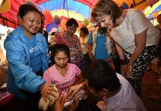 On the second day of Queen Mathilde's visit to Laos, the Queen visited the Lao Ngam (Sanon village) for the health outreach in Salavan Province, Laos on Tuesday 21 February 2017. Queen Mathilde of Belgium, honorary President of Unicef Belgium, is on a four days mission in Laos.