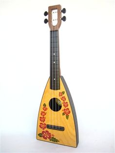 Island Fluke ukulele, purple flower design printed on birch wood, made in USA by Magic Fluke
