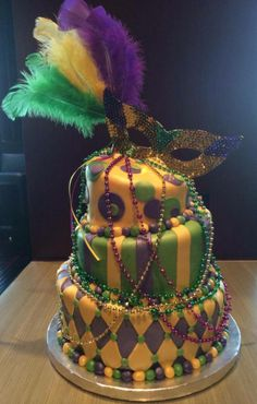Mardi Gras themed 21st birthday cake