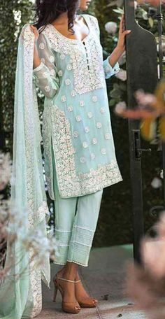 Buy Light Turquoise Embroidered Chiffon Dress by Mina Hasan 2015 - Indian Suits, Indian Attire, Indian Dresses, Indian Wear, Indian Tops, Punjabi Suits, Indian Style, Salwar Suits, Pakistan Fashion