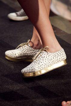 gold platform lace-up shoes