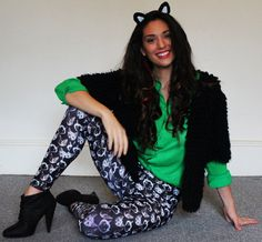 Cat+Leggings++Tights++Green+Eyed+Cat+Print+++S/M+by+Uptightso,+$70.00